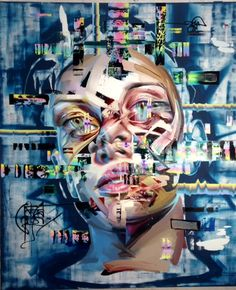 Justin Bower's Latest Oil Paintings of Glitchy Faces | Hi-Fructose Magazine