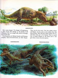 """Outdated illustration of some duck-billed dinosaurs, emphasis on the """"duck"""""""