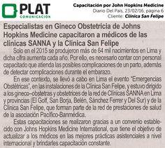 Clínica San Felipe: Capacitación por John Hopkins Medicine en el diario Del País de Perú (23/02/16)