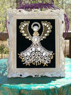 Vintage Rhinestone Jewelry Christmas Tree Framed Angel Art - Lots of Sparkle #CostumeJewelry