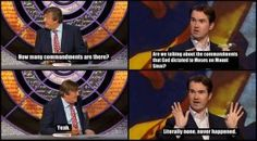 all of my favorite things in one: Jimmy Carr, Stephen Fry, QI, and atheism Atheist Jokes, Jimmy Carr, Reddit Funny, Religion And Politics, British Comedy, Atheism, Happy Thoughts, Best Funny Pictures, Picture Quotes