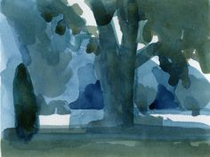 "Dave Gloman, Blue Shade, 2011, watercolor, 7 x 11"""