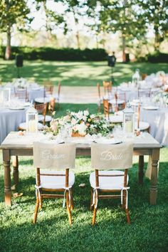 burlap chair covers /// Photo by Onelove Photography via Project Wedding