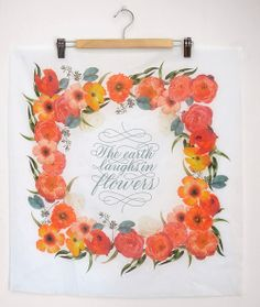 Hand-lettered floral hanky collaboration with Melissa Esplin of I Still Love you and Brittany Jepsen of The House that Lars Built