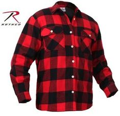 f34318423 Details about Mens Fleece-Lined Plaid Flannel Shirt - Rothco Red & Black  Cotton Lumberjack Top