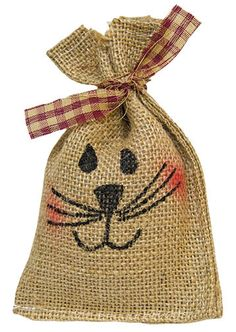 Mini Bunny Bag is a small burlap grain sack with a hand-painted bunny face, accented with a homespun ribbon. The top is split to resemble ears, and the bag comes stuffed and ready to display. It is high by wide. Bunny Crafts, Easter Crafts, Primitive Crafts, Country Primitive, Spring Crafts, Holiday Crafts, Bunny Bags, Diy Ostern, Easter Projects