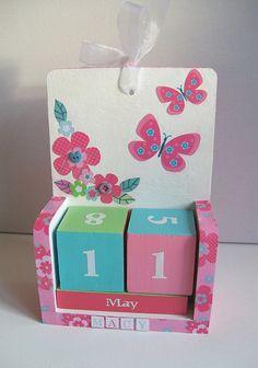 Pink Butterflies wooden perpetual calendar