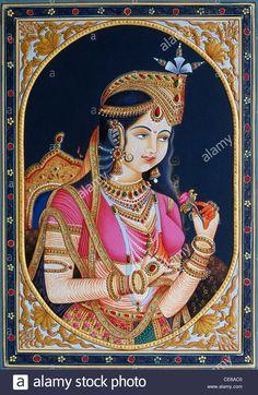 Miniature Painting of princess Mumtaz Mahal wife of Mughal Emperor Shah Jahan - bdr 84439 - Stock Image Mughal Paintings, Tanjore Painting, Rajasthani Painting, Hindu Art, Old Art, Woman Painting, Indian Art, Easy Drawings, Traditional Art