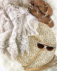 #fashion Straw Bag, Lace, Tops, Women, Fashion, Fashion Styles, Shell Tops, Fashion Illustrations, Trendy Fashion