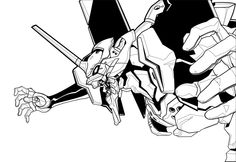 Eva 01 Black and White by ~DanielGoettig on deviantART