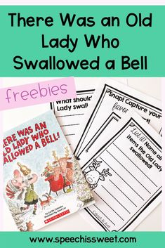 Your speech-language therapy students will love reading There Was and Old Lady Who Swallowed a Bell by Lucille Colandro! This is great book for Christmas speech therapy! You can use this book to work on compare and contrast, cause and effect, and WH questions! Check out this blog post for more speech therapy ideas to use with this book and to snag a free printable! | Speech is Sweet Speech Language Therapy, Speech Pathology, Speech Therapy Activities, Language Activities, Literacy Activities, Speech And Language, Christmas Speech Therapy, Wh Questions, Reading Strategies
