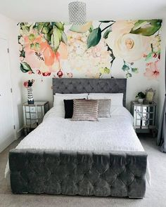 She's been at it again!  A huge thank you to Sophie who has transformed another room with one of our murals  This time she opted for this heavenly romantic floral design for her bedroom and OH MY! Doesn't it look fab?  Want to transform your bedroom too? From beautiful botanical prints to amazing abstract designs, choose your perfect wallpaper from a vast collection.  Discover more from Wallsauce! #wallpaper #bedroomdecor Where to buy floral wallpaper. Bedroom Wallpaper, Custom Wallpaper, All Design, Floral Design, Abstract Designs, Perfect Wallpaper, Your Perfect, Beautiful Bedrooms, Wall Ideas