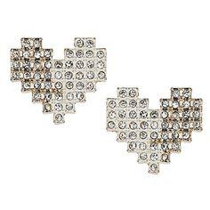 Pixelated Heart Stud Earrings