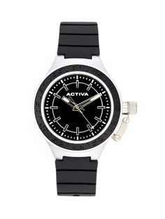 Unisex Round Stainless Steel & Black Watch by Activa Watches on Gilt.com