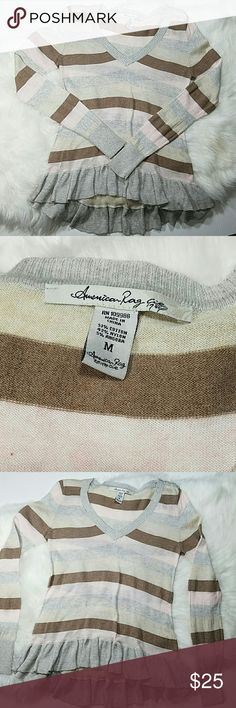 🆕 America Rag sweater Khaki, brown, pastel pink, grey striped sweater, long sleeves, ruffled edge all the way around the sweater, v-neck style, three buttons on the left shoulder. Cotton/nylon/angora.  Excellent condition.  Sz medium  (fits more like a small). American Rag Sweaters V-Necks