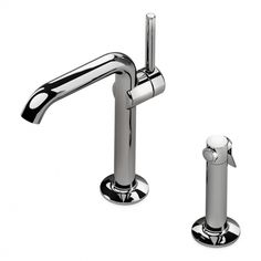 .25 One Hole High Profile Kitchen Faucet, Metal Handle and Metal Spray