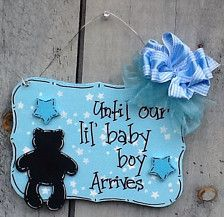 This adorable new baby countdown is a perfect gift for the expectant parents. It is painted with acrylic paint, sealed with a semi gloss finish, and a teddy bear chalkboard to write on. It also has chunk stars and a mesh bow to accent the design. The chalkboard shape can vary from a baby carriage, teddy bear, pacifier, baby bottle, etc., just convo if you want a different cutout. The color variations can be changed too.