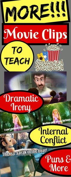 A variety of movie clips to show irony, satire, foreshadowing, internal conflict, and more! Students love these movie clips so it& the perfect supplement to whatever you& reading or learning in class. 6th Grade Reading, Middle School Reading, Middle School English, Middle School Classroom, English Classroom, High School, English Teachers, Future Classroom, Classroom Ideas