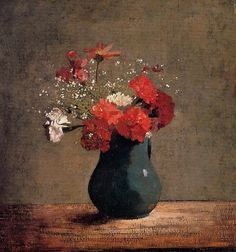 The Athenaeum - Carnations and Gypsophilia in a Green Vase (Odilon Redon - )