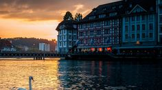 Lucerne Switzerland Swan Building Evening hd wallpaper by ThorMark Swan Wallpaper, City Wallpaper, Switzerland Vacation, Lucerne Switzerland, Travel Around The World, Around The Worlds, Foto Blog, World Images, World Photo