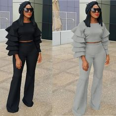 abae72880406 Solid Ruffles Crop Tops And Pants 2 Piece Set Search shop in bio!