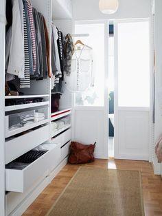Ikea Walk In Closet Design - pax wardrobe system Walk In Closet Ikea, Walk Through Closet, Walk In Closet Design, Wardrobe Closet, Pax Closet, Closet Designs, Closet Space, Walking Closet, Master Bedroom Closet