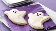 Ghost Sugar Cookie Cutouts Sugar Cookie Cutout Recipe, Pillsbury Sugar Cookies, Cut Out Cookie Recipe, Sugar Cookie Frosting, Sugar Cookie Dough, Cut Out Cookies, Canned Frosting, Pillsbury Recipes, Halloween Cookie Recipes