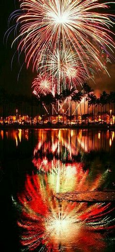 Fireworks reflection