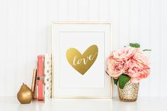 Love Heart Gold Foil Print - gold foil print - valentines day gold foil print - love gold foil print - nursery gold foil print - wedding by craftmeigold on Etsy https://www.etsy.com/listing/263685488/love-heart-gold-foil-print-gold-foil