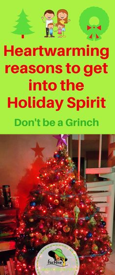 Dont be a christmas Grinch this year! There are so many great reasons why you should get into the holiday spirit. Remember all the reasons you loved Christmas and try to create that cheer for others around you.