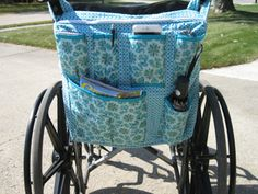 wheelchair bag  Teal/light by StitchingMoments on Etsy