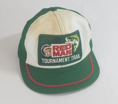 f90ff478c14 Vtg Red Man Tournament Trail Trucker Hat Cap Swingster Snapback Green Patch   Swingster  TruckerHat