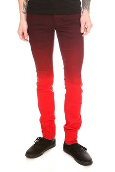 RUDE Red Ombre Skinny Fit Denim Jeans