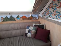 Couch area, Love the final product of the hinge covers! Just a little decor. Aliner Campers, Sofa, Couch, Glamping, Diy, Furniture, Home Decor, Camper Van, Bricolage