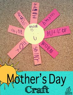 Mother's Day adjective activity. Bring a little sunshine to your mother today!