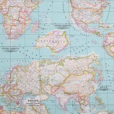 Wereldkaart canvas 02 - Stoffen Online