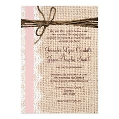 Rustic Burlap Lace Twine Pink Ribbon Wedding