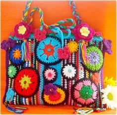 carpet bag and crochet  - purse is rag rug - crochet added!!!