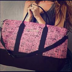 Victorias secret getaway tote! ❤️❤️❤️ Super cute pink and black tote, has black handles and an adjustable black strap. Very big with lots of space! I am willing to trade for other Victorias secret PINK itemS! Let me know if you would like to negotiate a price  trade value: $50 Victoria's Secret Accessories