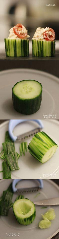 Tuna salad in cucumber cups – สลัดทูน่าในแตงกวาถ้วย