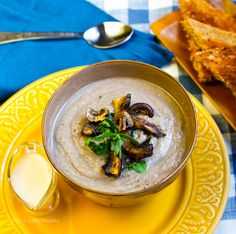 No-Cream of Mushroom Soup. Rosemary. Pepper. This Vegan Mushroom soup will hit the spot!