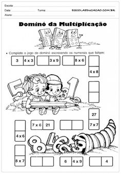 Atividades de Matemática 3º ano - Dominó da multiplicação