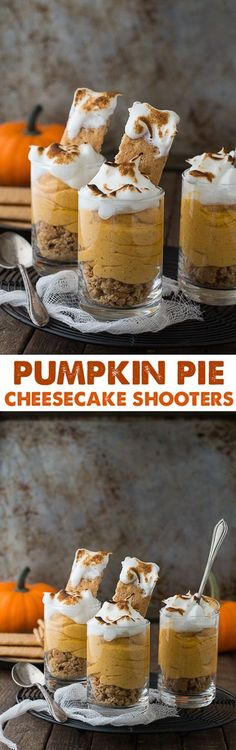Pumpkin pie cheesecake shooters topped with toasted meringue! , Pumpkin pie cheesecake shooters topped with toasted meringue! Mini Desserts, Holiday Desserts, Delicious Desserts, Dessert Recipes, Yummy Food, Individual Desserts, Baking Recipes, Cheesecake Shooters, Dessert Shooters