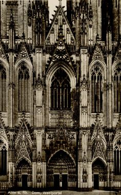 Simply gorgeous Westfront of Cologne Cathedral, Cologne, Germany. Photo published by H. Worringen, Cologne. Circa 1920's