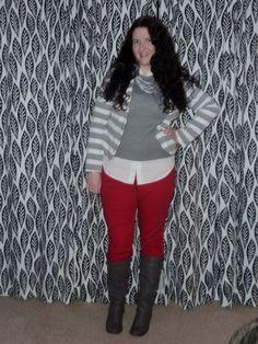 Red jeans, striped blazer, layers