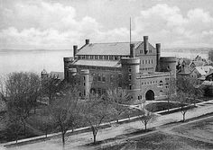 The Armory and Gymnasium, built in 1892, viewed from across Library Mall. Madison, Wisconsin. 1899.