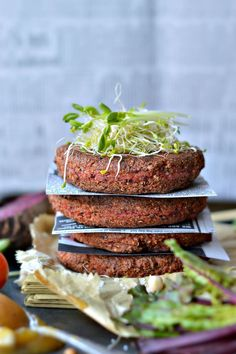 Those Supergrains Beetroot and Tofu Burger Patties are crusty and moist in the centre. The best Vegan burger patties you will ever eat.