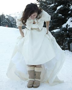 Warm and Toasty - in Ugg boots underneath her dress; each female wedding guest received her own pair of winter boots, purchased at Target.