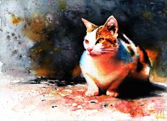 Watercolor painting by Alex Carter, who specializes in Cats.