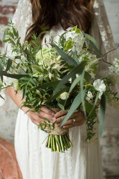 greenery bouquet - photo by Lauren Schwarz Photography http://ruffledblog.com/herb-and-garden-wedding-editorial